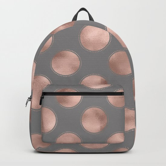 Rosegold pink metal  polkadots on grey background  - dots Backpack