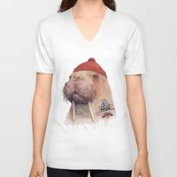 walrus V-neck T-shirts featuring Tattooed walrus by Animal Crew