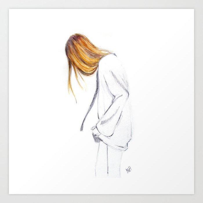 Blonde hair girl Art Print