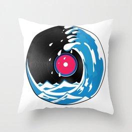 Vinyl Wave Throw Pillow
