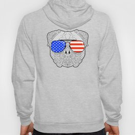 Patriotic July 4th American Flag Pug Dog Face with Sunglasses for Independence Day Celebrations Hoody