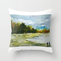 fishing Throw Pillows featuring Fishing by Baris erdem