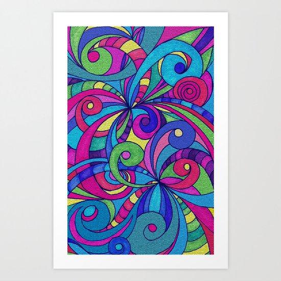 Drawing Floral Doodle G1 Art Print