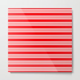 Large Horizontal Christmas Holiday Red Velvet and White Bed Stripe Metal Print
