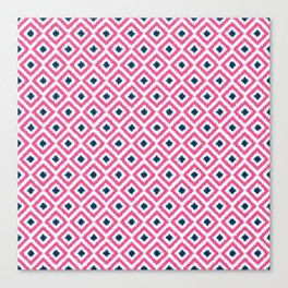 Pink and Navy Blue Diamonds Ikat Pattern Canvas Print