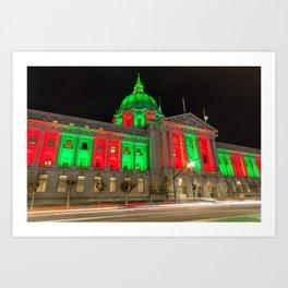 City Hall Holiday Night Light Art Print