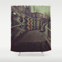 subway Shower Curtains featuring Subway by Efua Boakye