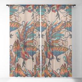 rooster ink beige Sheer Curtain