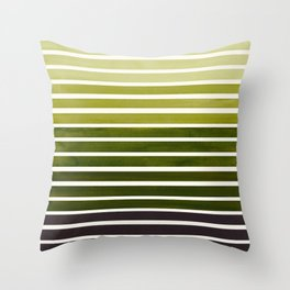 Watercolor Gouache Mid Century Modern Minimalist Colorful Olive Green Stripes Throw Pillow