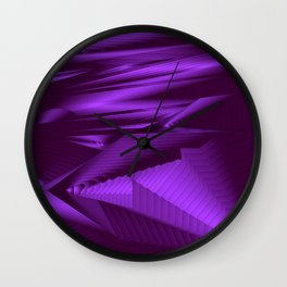 Diffuse landscap with stylised mountains, sea and violet Sun. Wall Clock