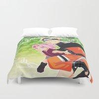 sasuke Duvet Covers featuring Naruto & Sakura by Neo Crystal Tokyo