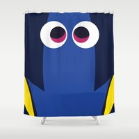finding nemo Shower Curtains featuring PIXAR CHARACTER POSTER - Dory - Finding Nemo by Marco Calignano