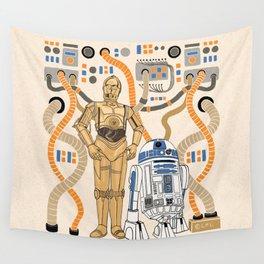 """Best Bots - C3PO & R2-D2"" by Jaclyn Caris Wall Tapestry"
