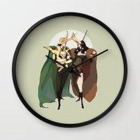 loki Wall Clocks featuring loki by imponderabilia