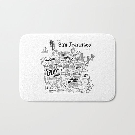San Francisco Map Illustration Bath Mat