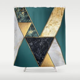 abstract art deco background, modern mosaic inlay, creative textures of marble granite and gold, art Shower Curtain