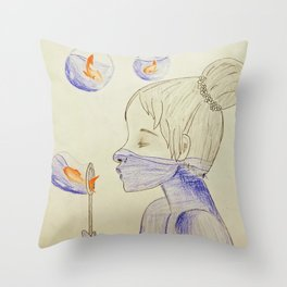 Bubbles and Goldfish Throw Pillow