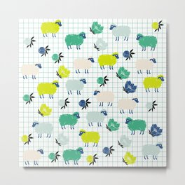 Cute Sheep and Flowers in Blue and Green Metal Print