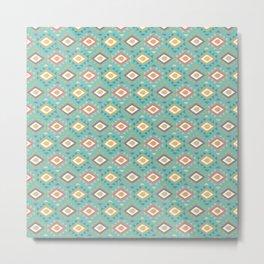 Vintage geometrical teal yellow orange green triangles tribal pattern Metal Print