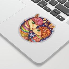 Rainbow Llamas Art - Colorful Llama Art by Thaneeya McArdle with Butterflies and Flowers Sticker