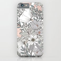 Gray and Pink Floral Pattern Slim Case iPhone 6s