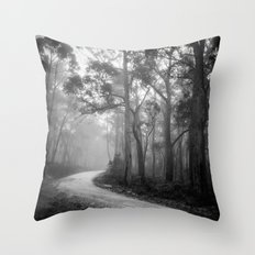 Misty Forest Path Throw Pillow