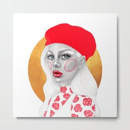 Girl with red beret Metal Print