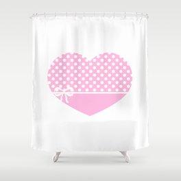 Heart & Ribbon-pink Shower Curtain