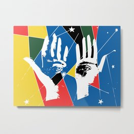 Mystic Hands Vintage Graphic Design Art Decoration Metal Print