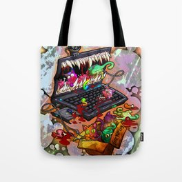 A Laptop Eating Multicolored Kittens Tote Bag