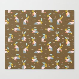 Tangram Bunnies M+M Nutmeg by Friztin Canvas Print