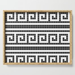 Black & white modern greek elements tiles pattern Serving Tray