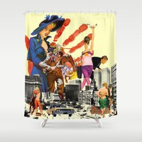 dick Shower Curtains featuring private dick by TRASH RIOT