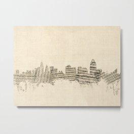 Cincinnati Ohio Skyline Sheet Music Cityscape Metal Print
