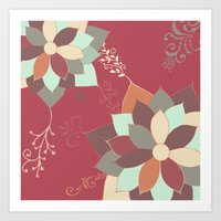 morrocan Art Prints featuring Morrocan Flowers by Studio Samantha