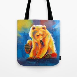 Play with a Bear - Animal digital painting, colorful illustration Tote Bag