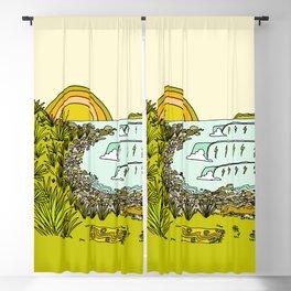 point breaks in paradise // retro surf art by surfy birdy Blackout Curtain