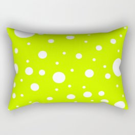 Mixed Polka Dots - White on Fluorescent Yellow Rectangular Pillow