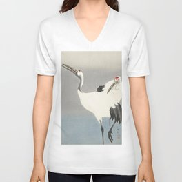 Two Cranes - Vintage Japanese Woodblock Print Art Unisex V-Neck