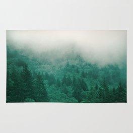 Misty Moody Mountain Forest Fog Northwest Oregon Washington Rug