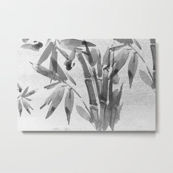 Bamboo Tree Watercolor Metal Print