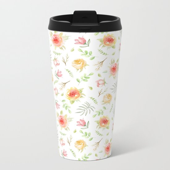 Vintage pattern. Roses Metal Travel Mug