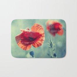 Red Poppy Flowerss On Aqua Bath Mat