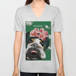 Frida-Bulldog Unisex V-Neck