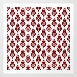 Large Dark Christmas Candy Apple Red Teardrop Ornaments Art Print