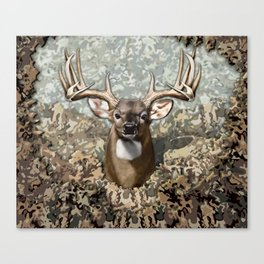 Whitetail Buck and Camo Canvas Print