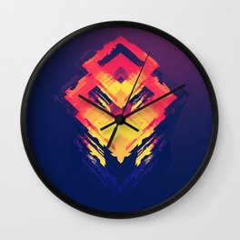 Mystic Magic Neon Color Right Angle Digital Art Pattern UHD Wall Clock