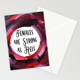 Feminist Art, Inspirational Art, Females Are Strong as Hell Stationery Cards