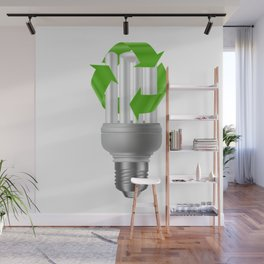 Energy saving bulb with recycle sign Wall Mural