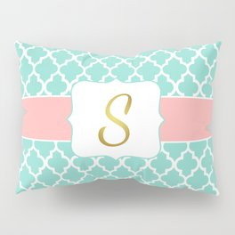 Mint Moroccan Pattern with Coral Accent Pillow Sham